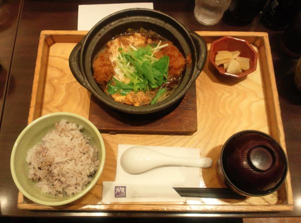 熟成豚ロースかつの玉子とじ鍋定食